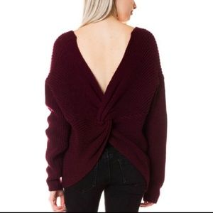Sweaters - Wine v-neck twist back sweater